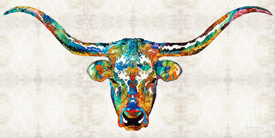 Cow Painting - Colorful Longhorn Art By Sharon Cummings by Sharon Cummings