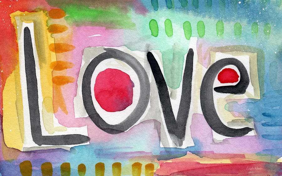 Love Painting - Colorful Love- painting by Linda Woods