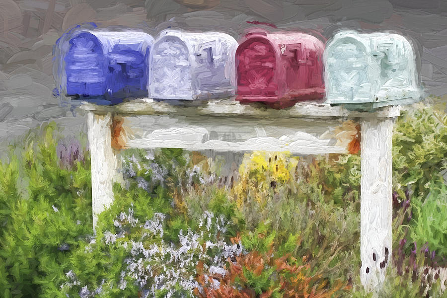 Mailboxes Photograph - Colorful Mailboxes And Flowers Painterly Effect by Carol Leigh