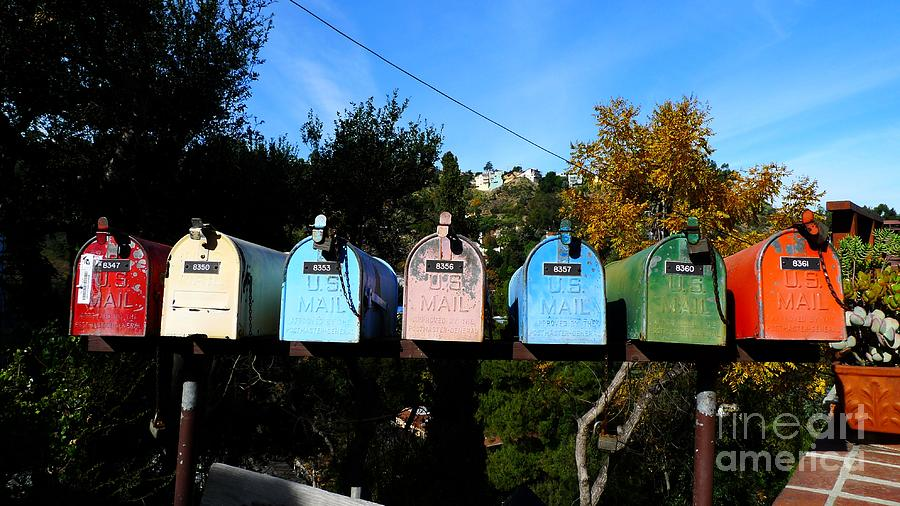 Red Photograph - Colorful Mailboxes by Nina Prommer