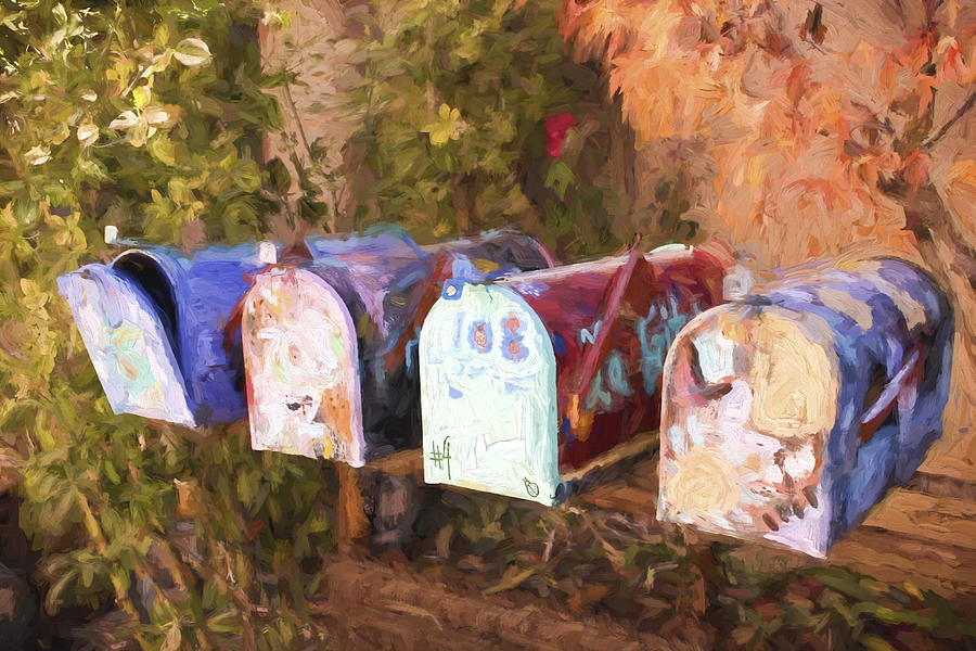 Mail Boxes Photograph - Colorful Mailboxes Santa Fe Painterly Effect by Carol Leigh