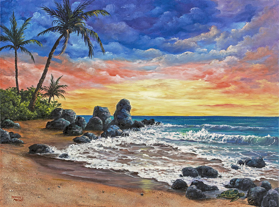 Colorful Maui Sunset Painting By Darice Machel Mcguire