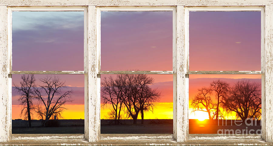 windows photograph colorful morning white rustic barn picture window frame view by james bo insogna