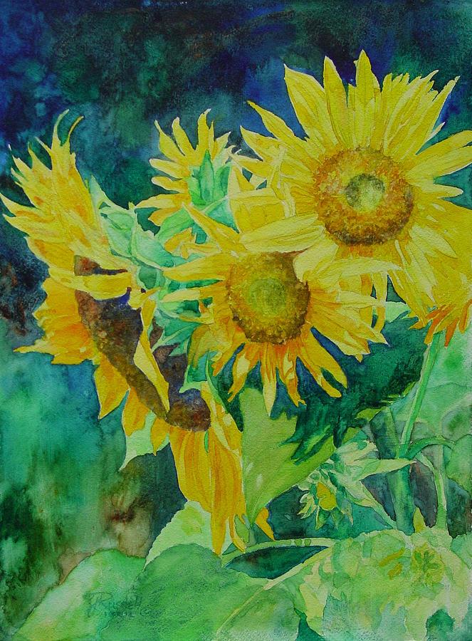 Sunflowers Painting - Colorful Original Sunflowers Flower Garden Art Artist K. Joann Russell by K Joann Russell