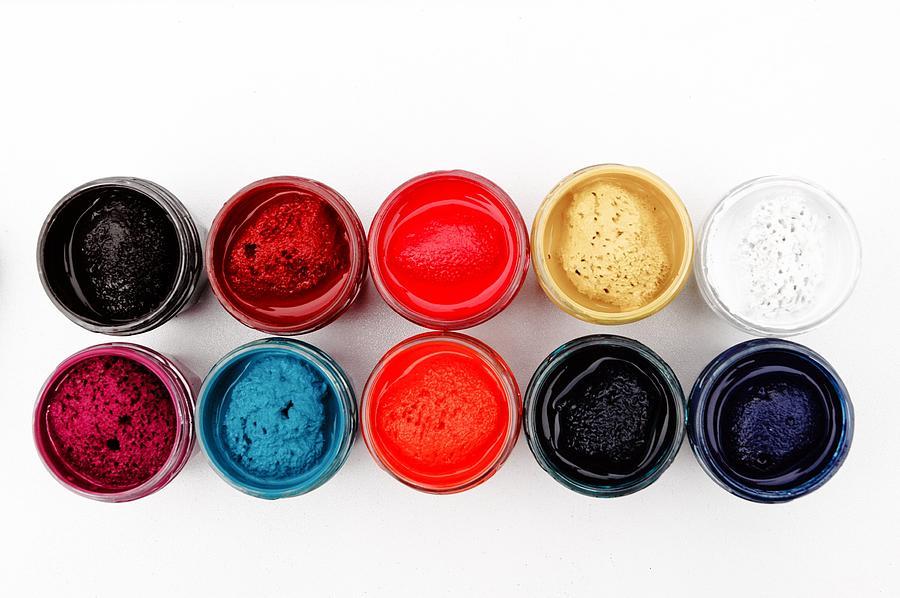 Color Photograph - Colorful Paint Pots by Matthias Hauser