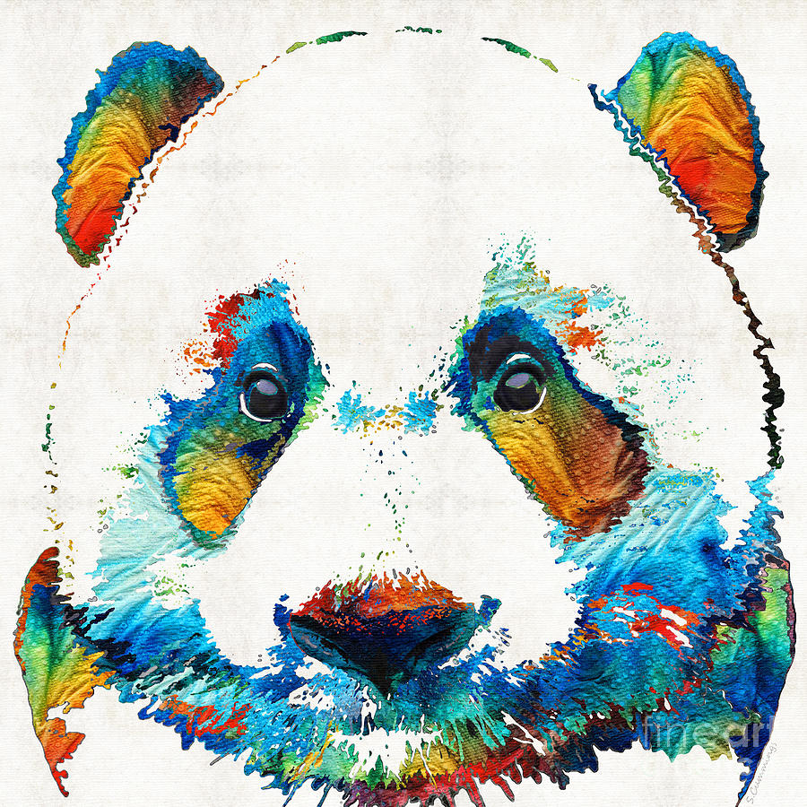 Colorful Panda Bear Art By Sharon Cummings Painting By