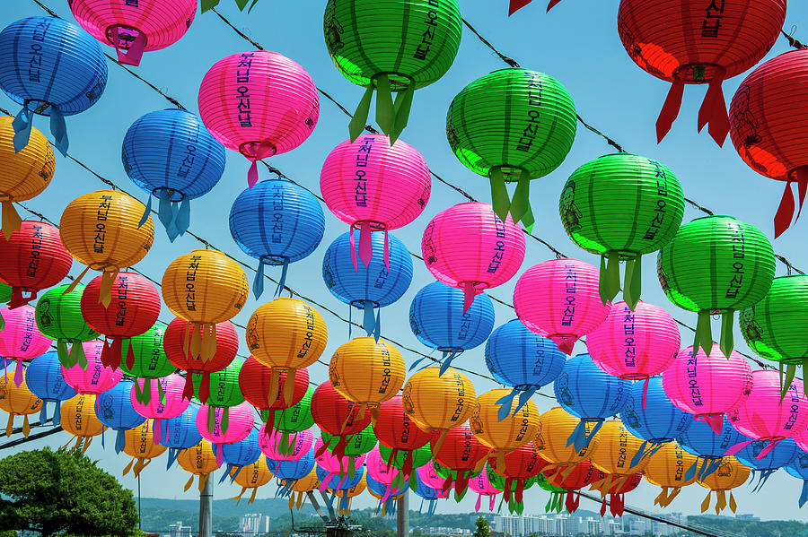 colorful paper lanterns in suwon photograph by michael runkel