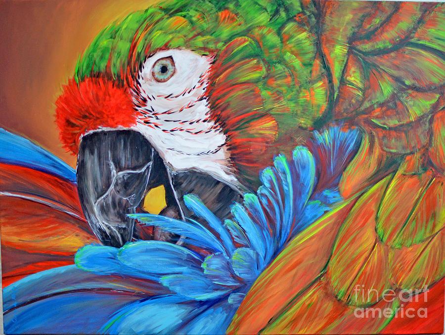 Parrot Painting - Colorful Parrot by Paola Correa de Albury