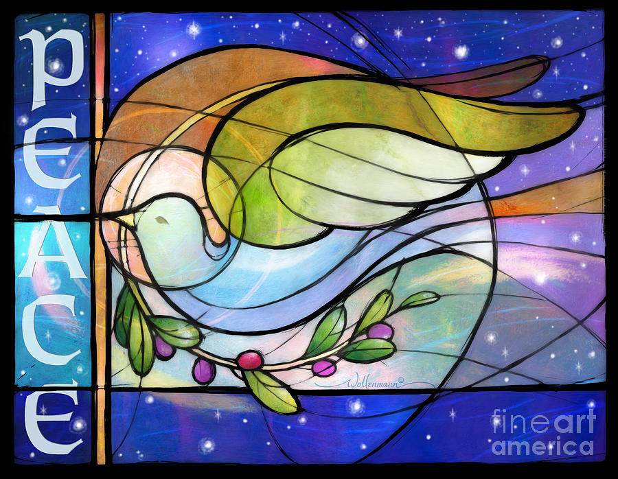 Colorful Peace Dove Digital Art By Randy Wollenmann
