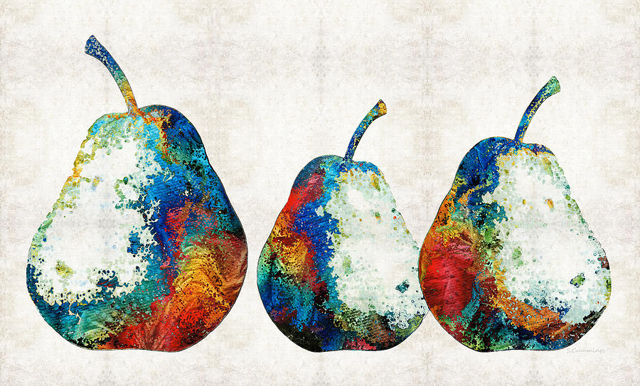 Pear Painting - Colorful Pear Art - Three Pears - By Sharon Cummings by Sharon Cummings