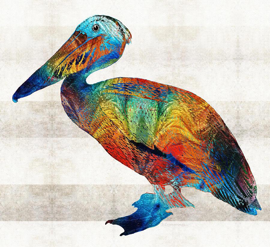 Pelican Painting - Colorful Pelican Art By Sharon Cummings by Sharon Cummings