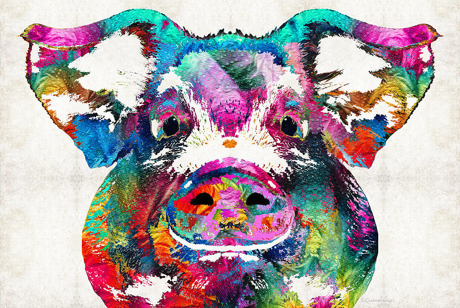Colorful pig art squeal appeal by sharon cummings for Big artwork for sale