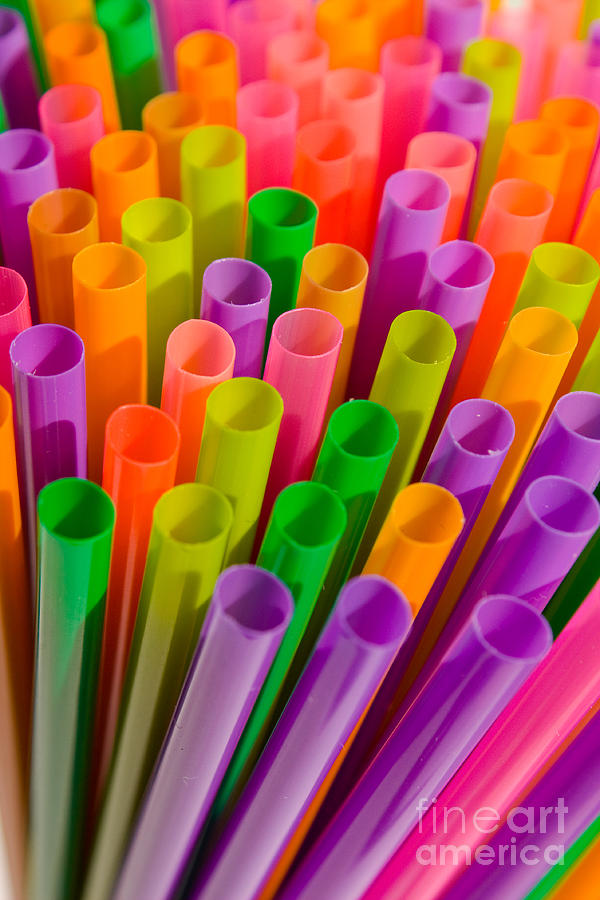 Colorful Plastic Drinking Straws Digital Art