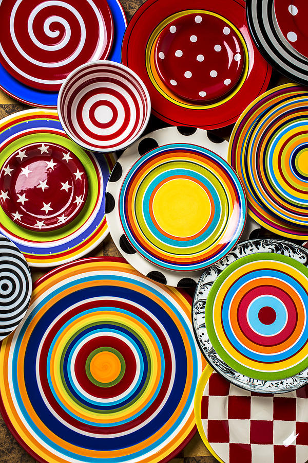 Plate Photograph - Colorful Plates by Garry Gay