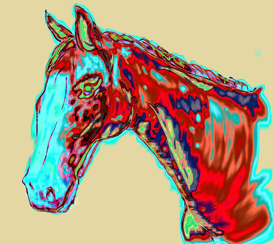 Modern Painting - Colorful Race Horse by Mark Moore