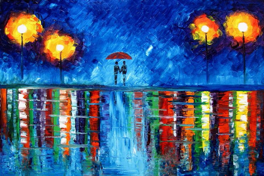 Walking In The Rain Painting - Colorful Rain by Mariana Stauffer
