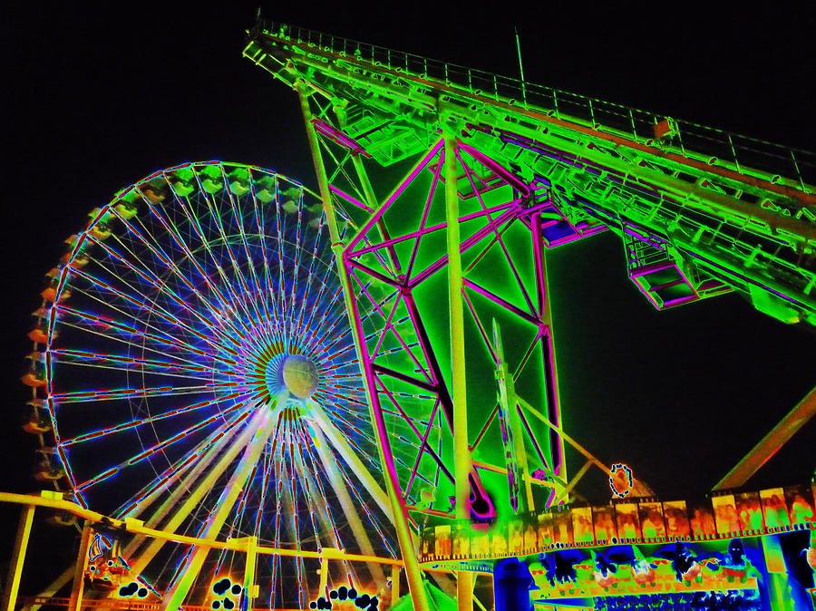Amusement Rides Photograph - Colorful Rides by Thomas  MacPherson Jr