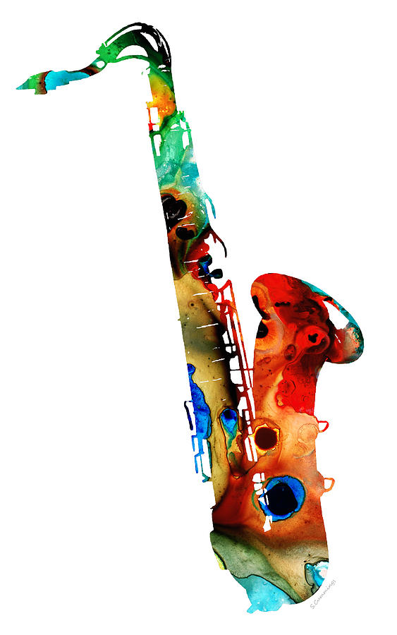 Saxophone Painting - Colorful Saxophone by Sharon Cummings by Sharon Cummings