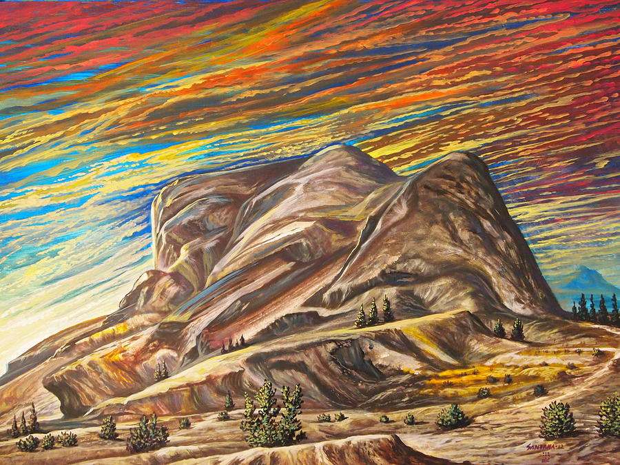 Mountain Scrub Sunset Sky Vibrant Brilliant Colorful  Painting - Colorful Scape by Dayna Reed