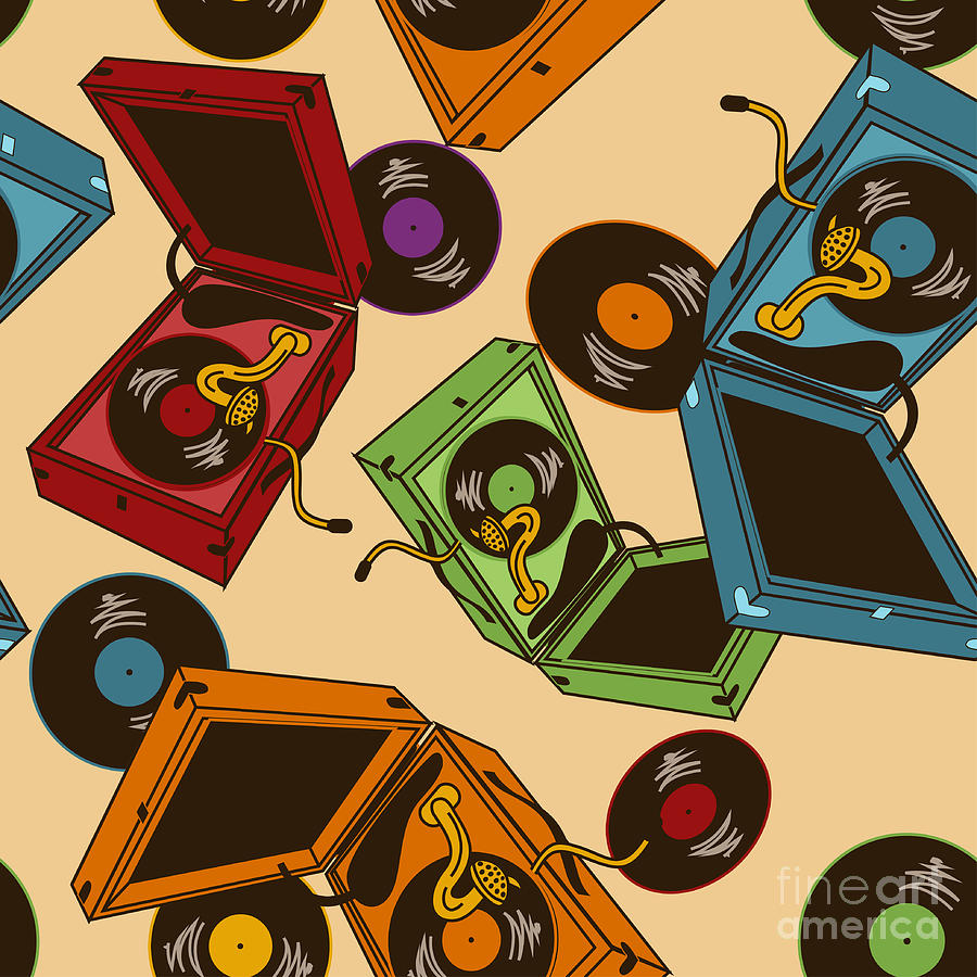 Platter Digital Art - Colorful Seamless Pattern Of Gramophones by Annykos