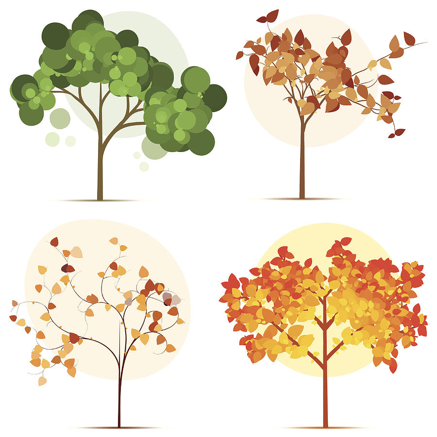Colorful Seasonal Trees Digital Art by Calvindexter