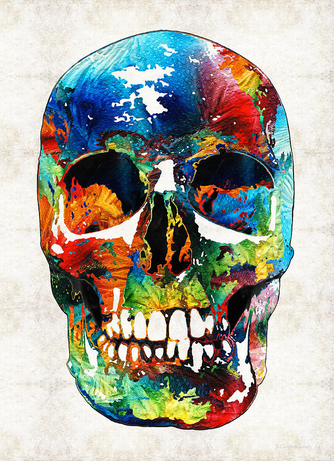 colorful skull art aye candy by sharon cummings