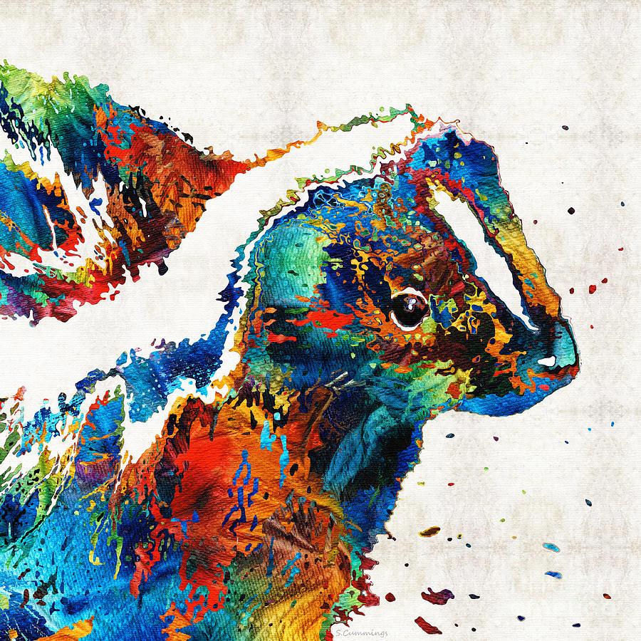 Skunk Painting - Colorful Skunk Art - Dee Stinktive - By Sharon Cummings by Sharon Cummings