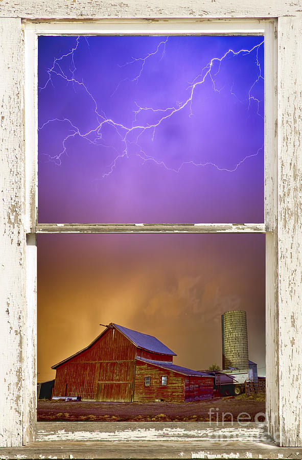 Colorful Storm Farm House Window View Photograph