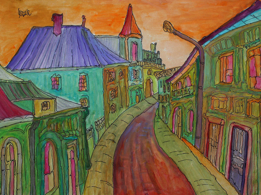 Cityscapes Painting - Colorful Street by Oscar Penalber