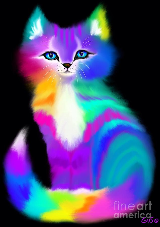 Colorful Cats Painting - Colorful Striped Rainbow Cat by Nick Gustafson