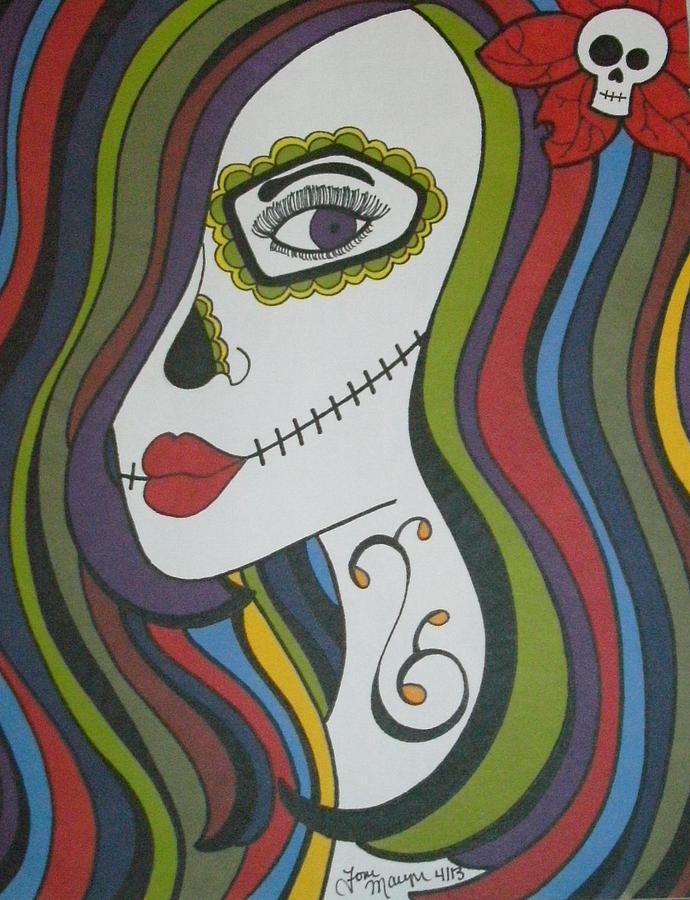 colorful sugar skull gurl drawing by toni margerum