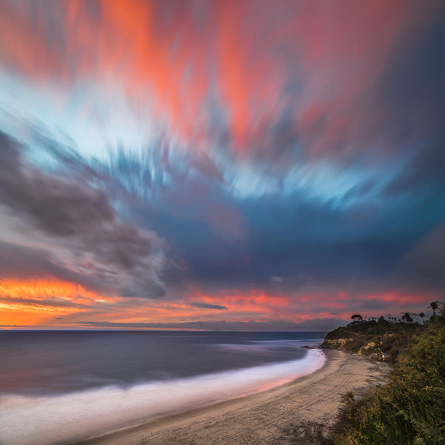 Encinitas Photograph - Colorful Swamis Sunset - Square by Larry Marshall