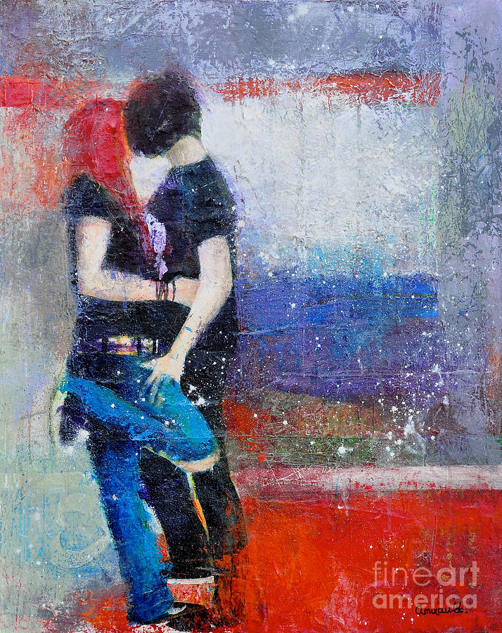 Teens In Love Painting - Colorful Teen Together For Ever  by Johane Amirault