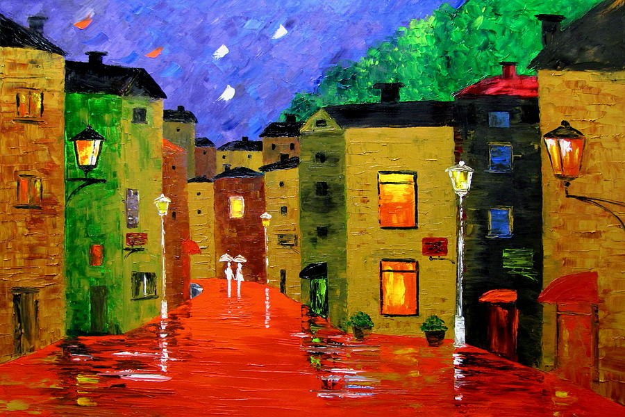 Rain Painting - Colorful Town by Mariana Stauffer