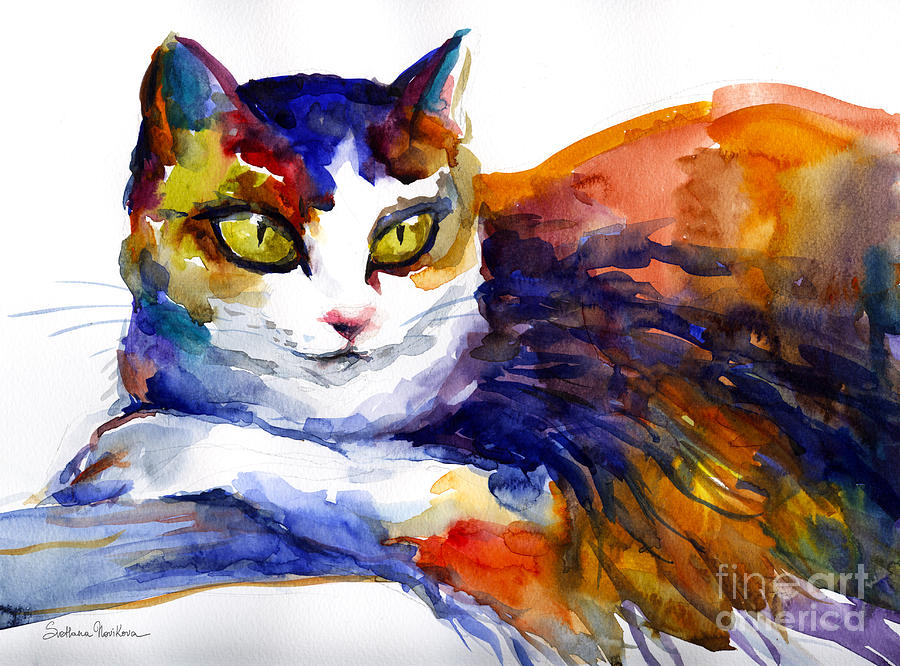 Colorful Watercolor Cat On A Tree Painting Painting by ...