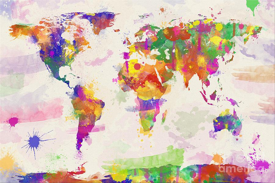 Map Digital Art - Colorful Watercolor World Map by Zaira Dzhaubaeva