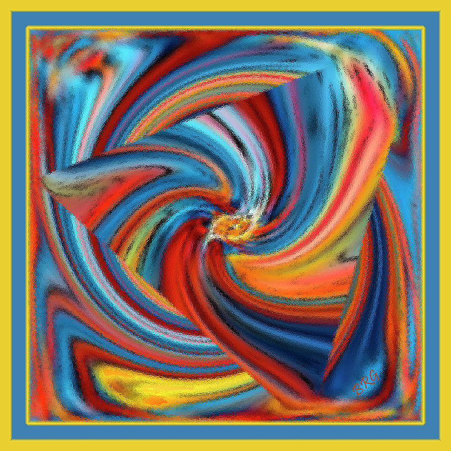 Geometric Abstract Digital Art - Colorful Waves by Ben and Raisa Gertsberg