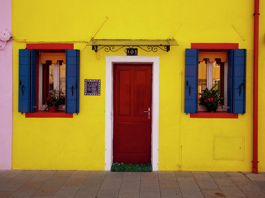 Colorful Windows And Door On Yellow Photograph by Dennis Walton