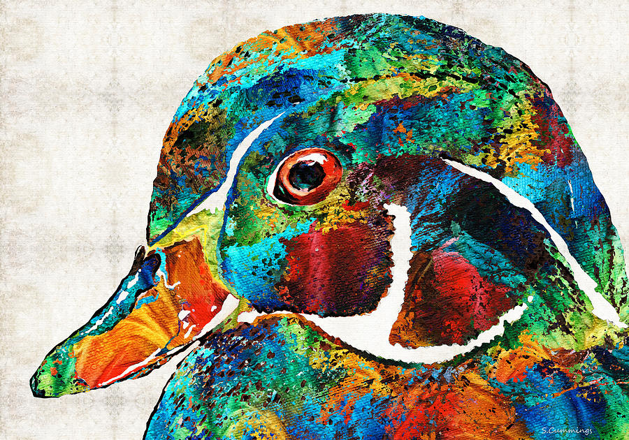 Duck Painting - Colorful Wood Duck Art by Sharon Cummings by Sharon Cummings