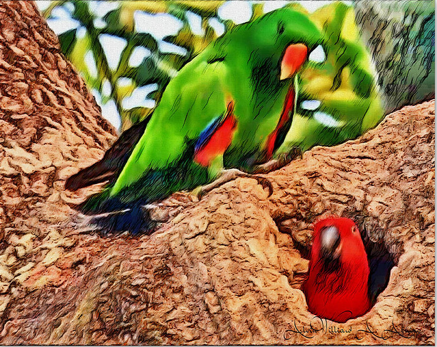 Green Parrot Painting - Colorfully Bright by Withintensity  Touch