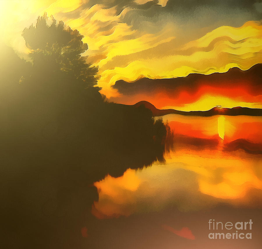 Artist Painting - Colors At The Lake by Odon Czintos