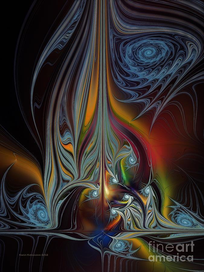 Abstract Digital Art - Colors In Motion-fractal Art by Karin Kuhlmann