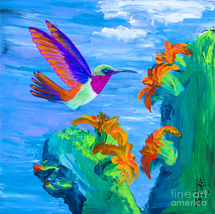 Hummingbird Painting - Colors Of The Desert by Tracy L Teeter