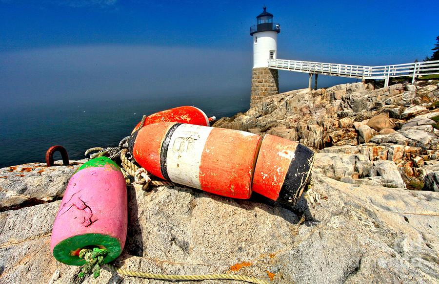 Maine Lighthouse Photograph - Colors On The Rocks by Adam Jewell
