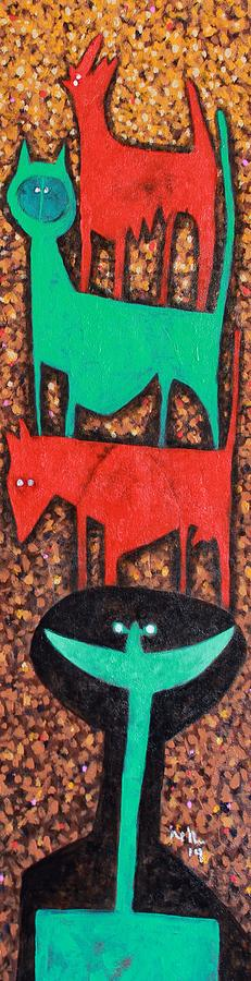 Abstract Painting - Colos Stacked Animals Turquoise Smile  by Mark M  Mellon