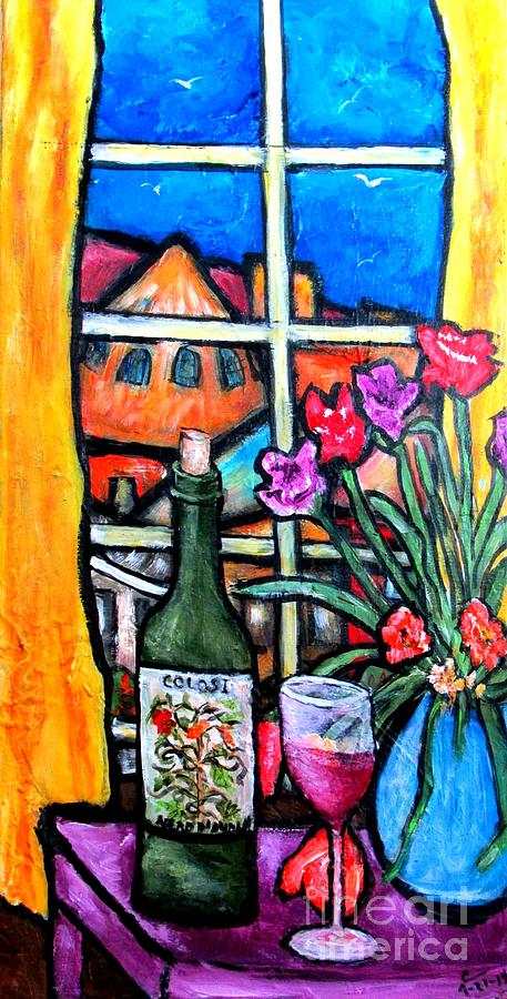 Still Life Painting - Colosi Wine With Flowers by Chaline Ouellet