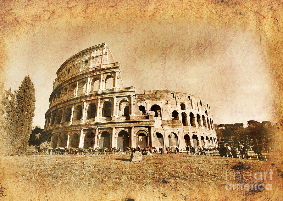 Colosseum Photograph - Colosseum Grunge by Stefano Senise