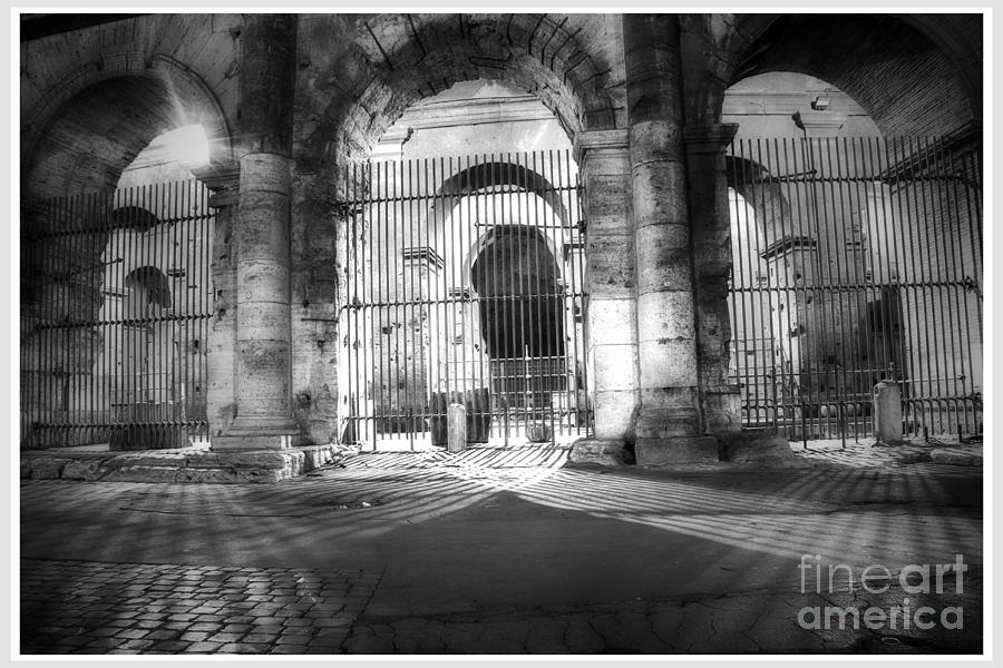 Black And White Photograph - Colosseum Lights - monocrome by Stefano Senise