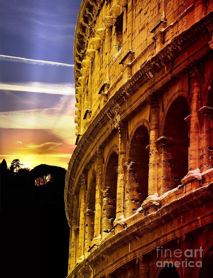 Colosseum Photograph - Colosseum Sunset by Stefano Senise