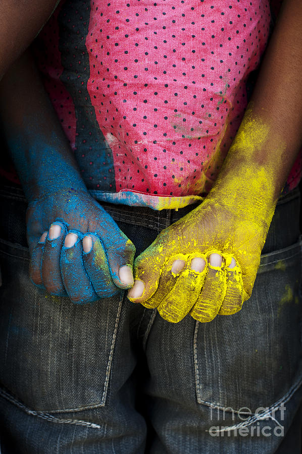 Indian Boy Photograph - Coloured Hands by Tim Gainey